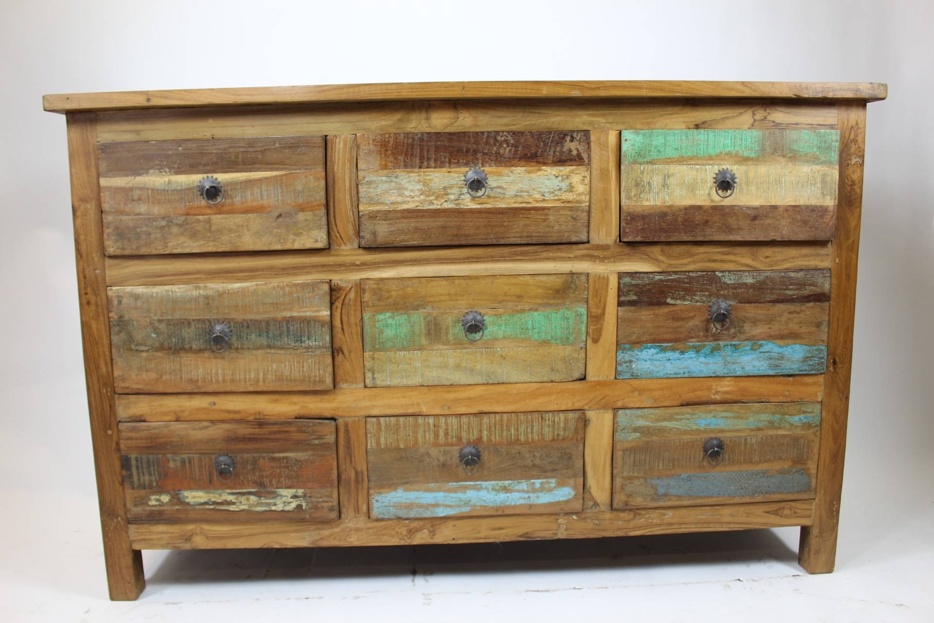 Reclaimed 9 Drawer Multi-Colored Sideboard - Home Decor Imports with Multi Drawer Sideboards (Image 23 of 30)