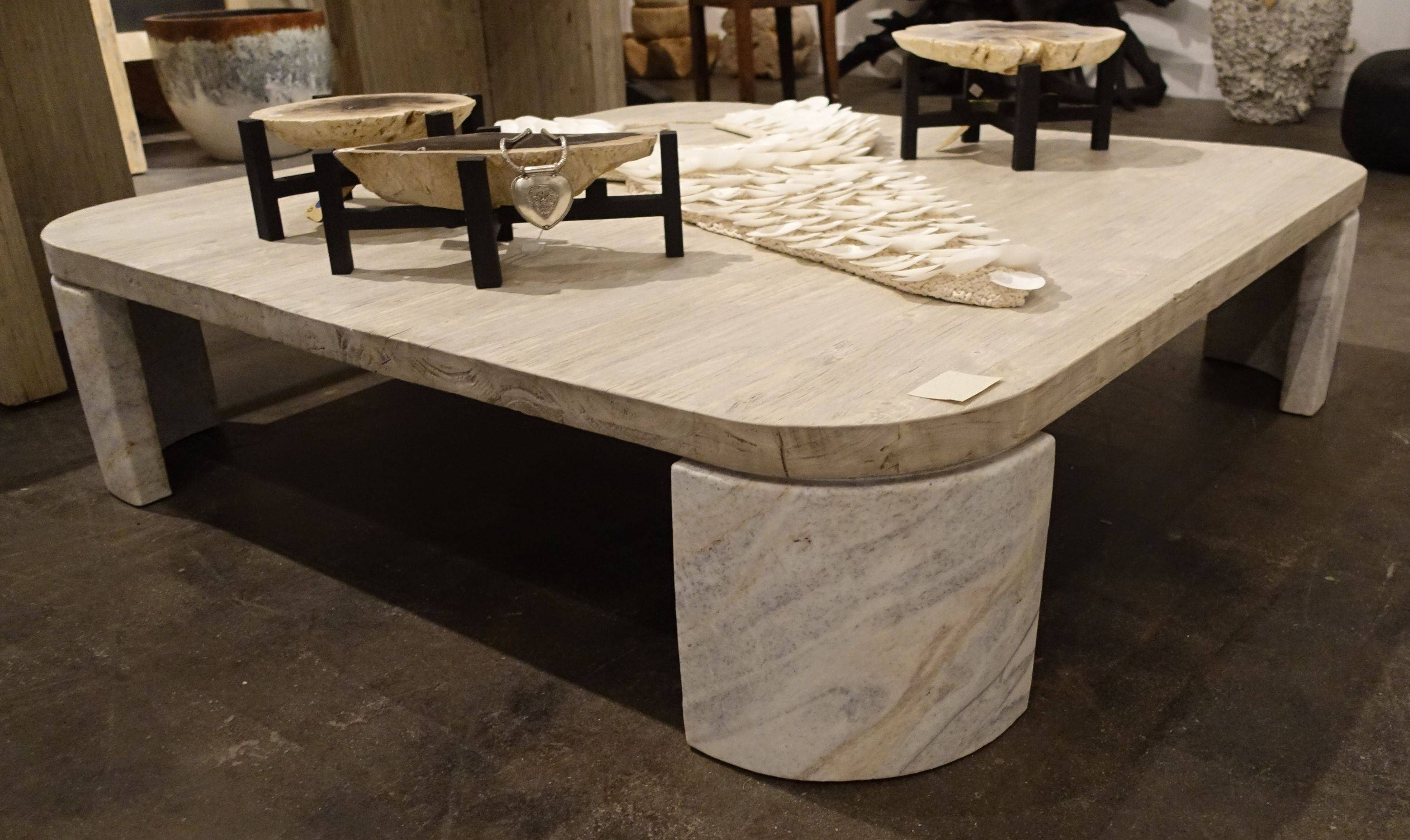 Reclaimed Elm And Stone Square Coffee Table - Mecox Gardens in Square Stone Coffee Tables (Image 24 of 30)