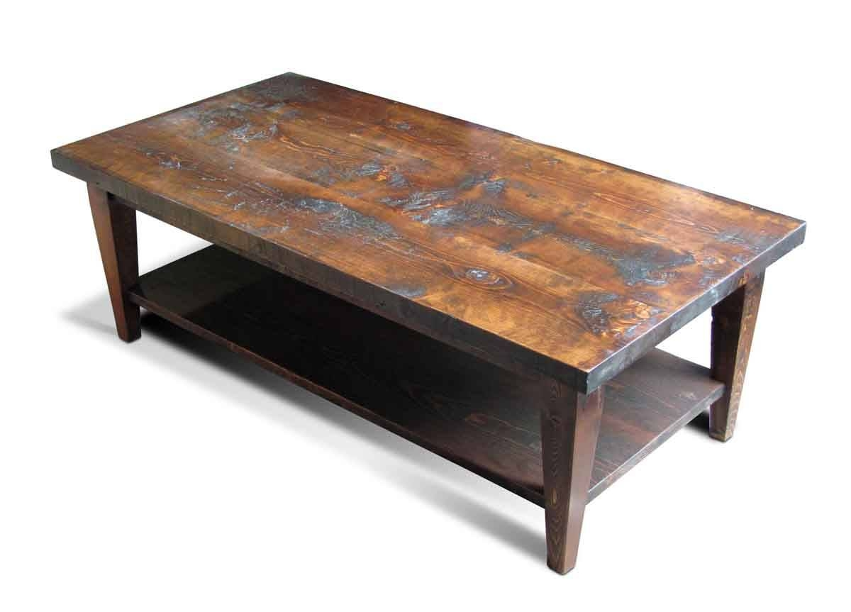 Reclaimed Pine Coffee Table With Bottom Shelf | Olde Good Things pertaining to Pine Coffee Tables (Image 21 of 30)