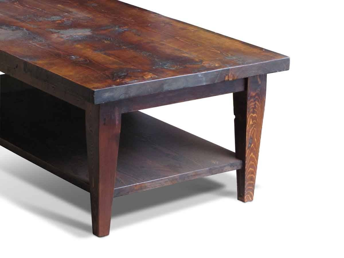 Reclaimed Pine Coffee Table With Bottom Shelf | Olde Good Things regarding Pine Coffee Tables (Image 22 of 30)