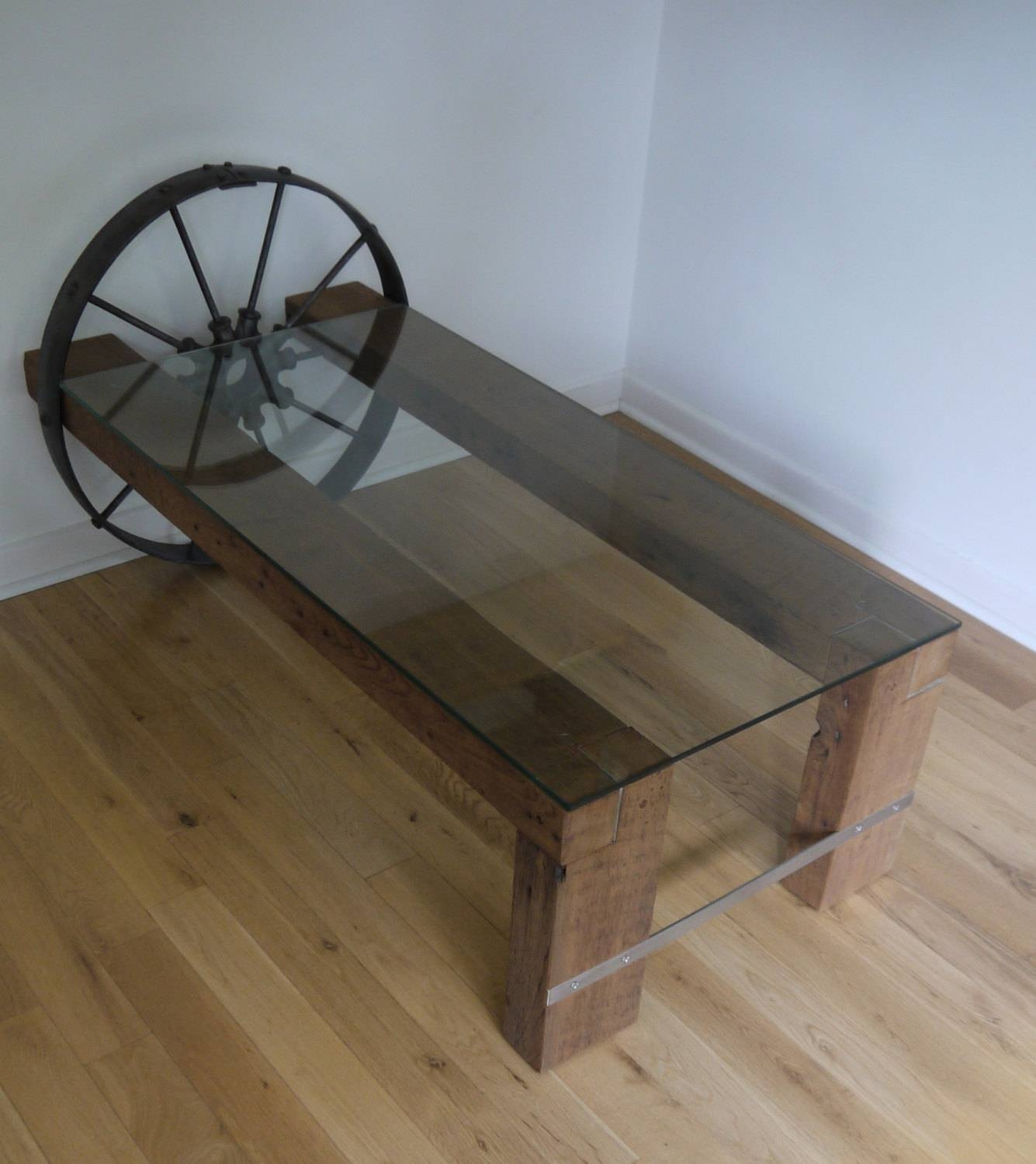Reclaimed Wood And Glass Coffee Table. Metal Coffee Table. intended for Reclaimed Wood And Glass Coffee Tables (Image 20 of 30)