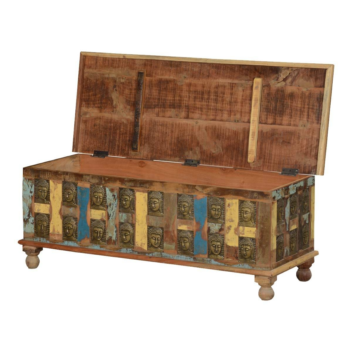 Reclaimed Wood Coffee Table Storage Trunk W Embossed Buddha within Buddha Coffee Tables (Image 25 of 30)