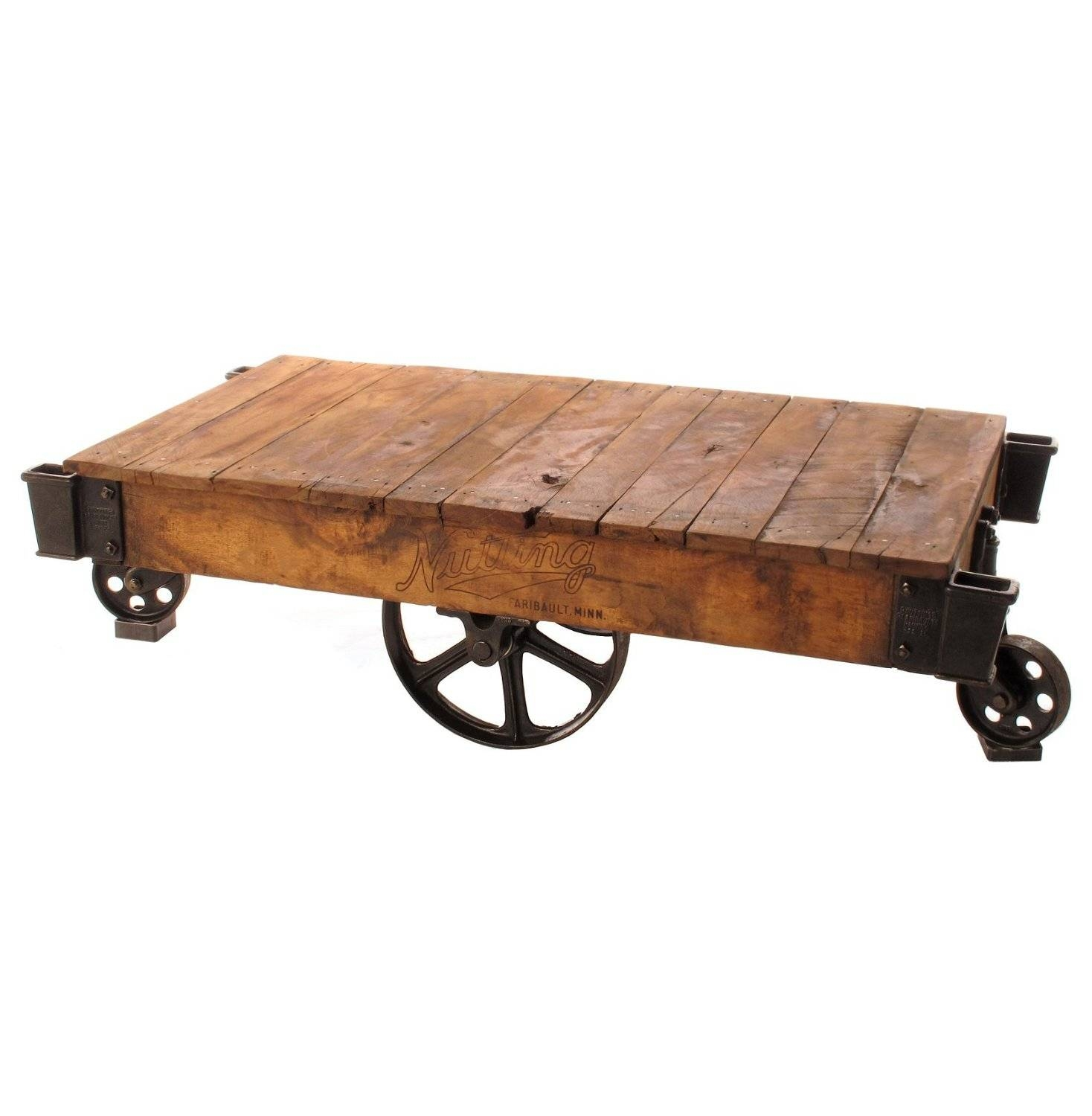 Reclaimed Wood Industrial Rustic Coffee Table Cart On Iron Wheels within Glass Coffee Tables With Casters (Image 18 of 30)