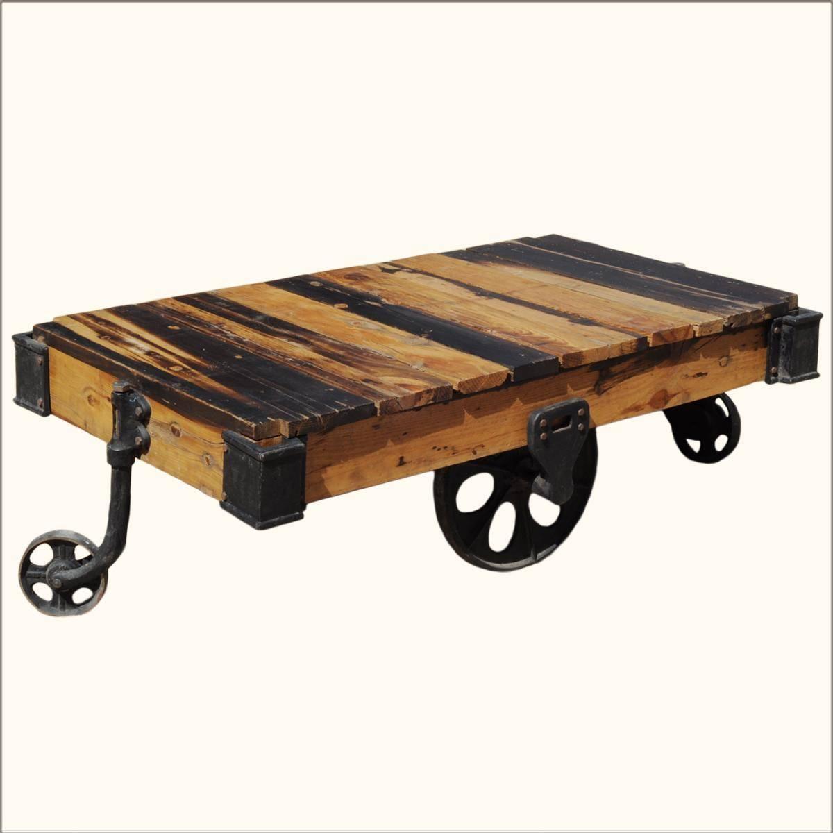 Reclaimed Wood Pallet Industrial Coffee Table On Wheels - Shakunt inside Wheels Coffee Tables (Image 20 of 30)