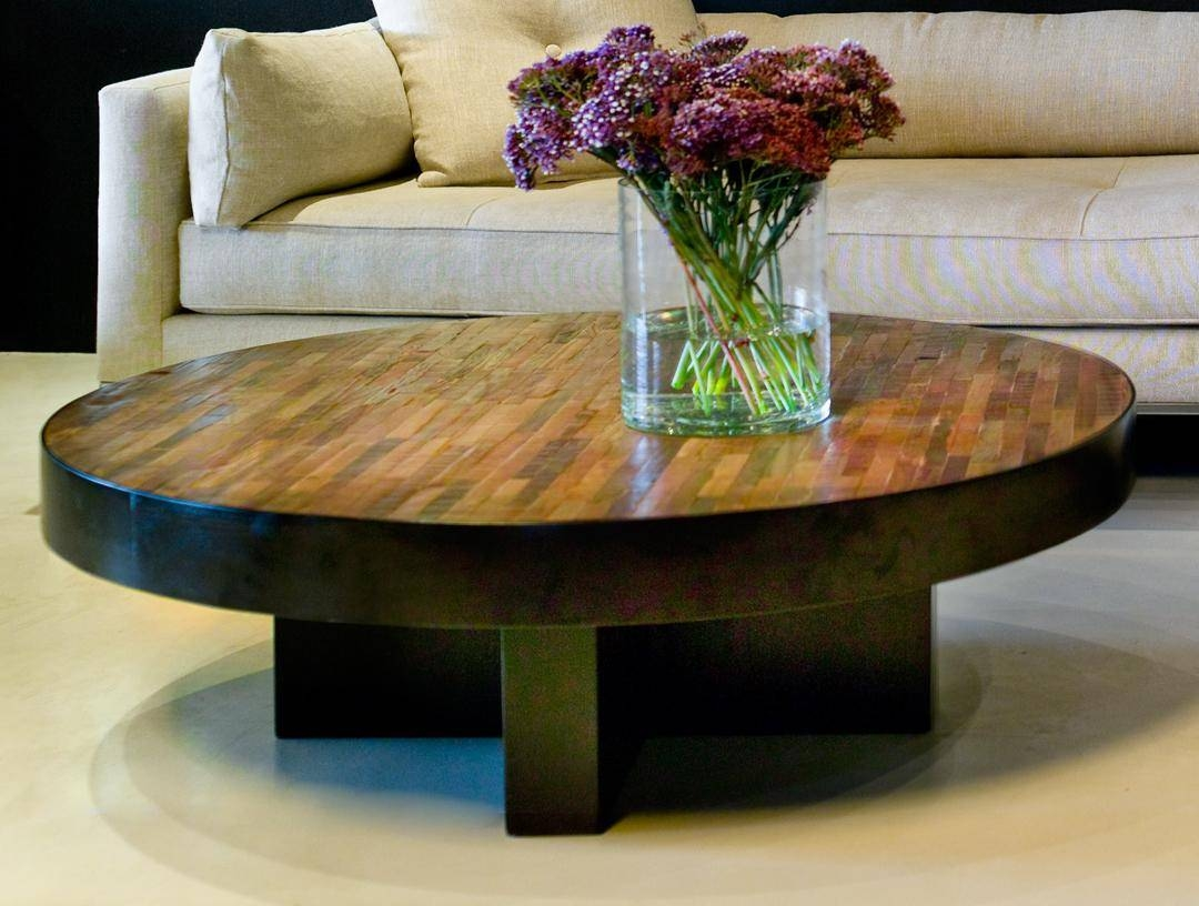 Reclaimed Wood Round Coffee Table Wb Designs - Jericho Mafjar Project pertaining to Dark Wood Round Coffee Tables (Image 24 of 30)