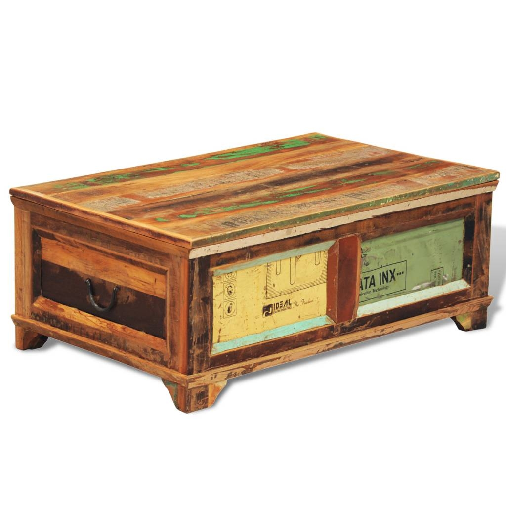 Reclaimed Wood Storage Box Coffee Table Vintage Antique-Style intended for Coffee Tables With Box Storage (Image 21 of 30)
