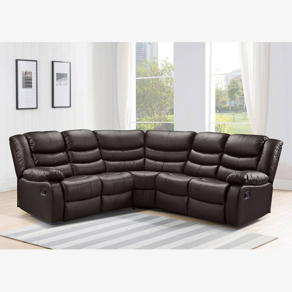 Recliner Corner Sofa In Dark Brown Bonded Leather throughout Corner Sofa Leather (Image 21 of 30)