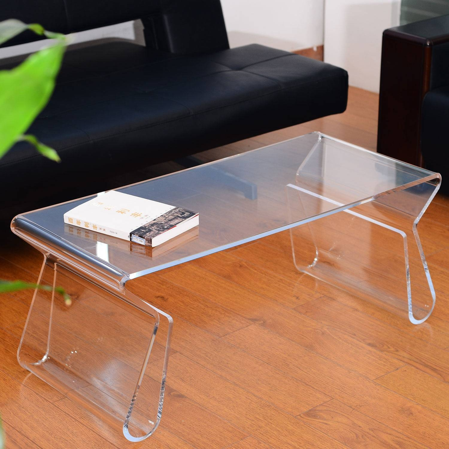 Rectangle Clear Acrylic Coffee Table With Magazine Rack Storage On regarding Acrylic Coffee Tables With Magazine Rack (Image 29 of 30)