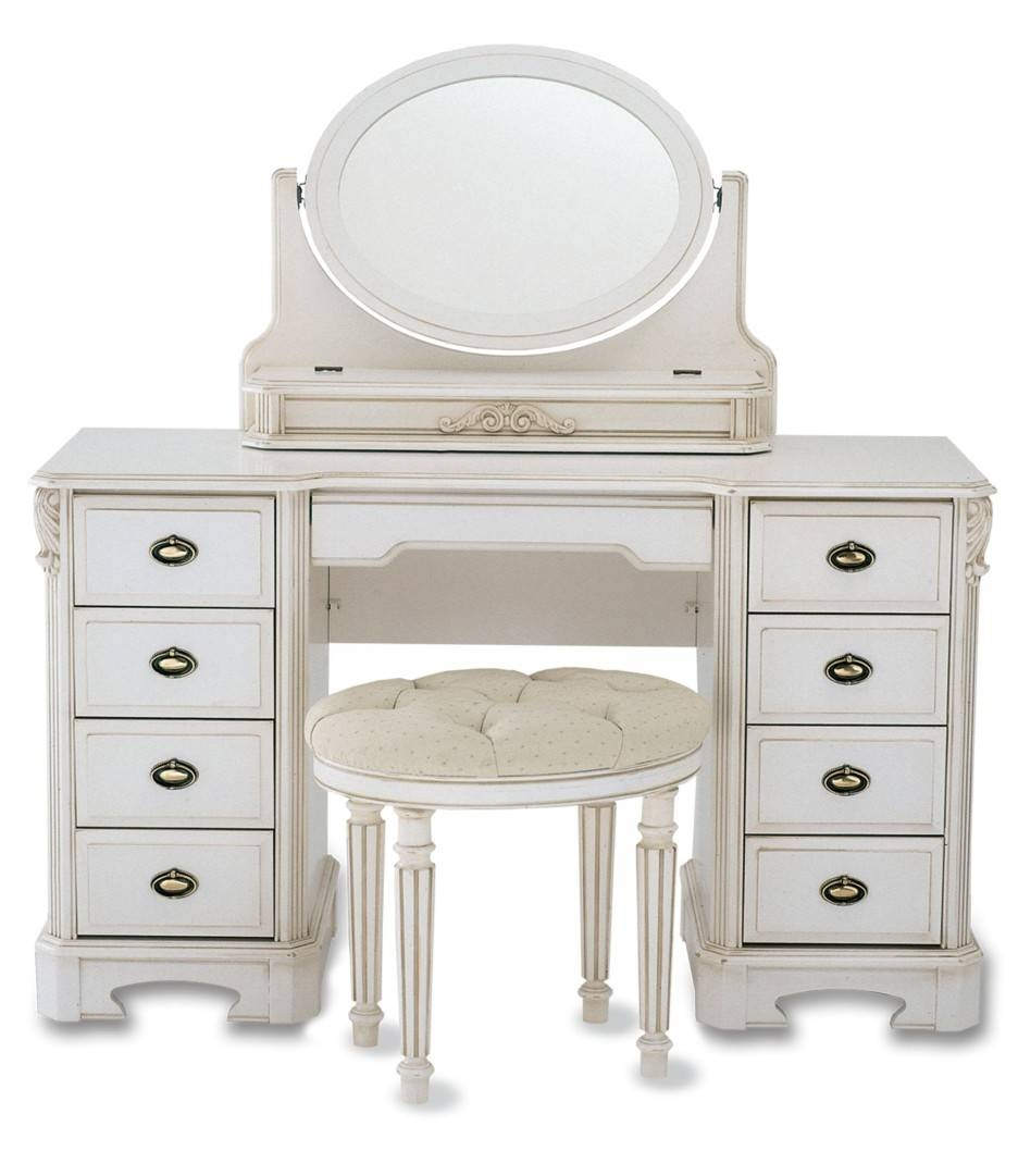 Rectangle White Wooden Bedroom Vanity With Oval Mirror And Drawers throughout White Oval Mirrors (Image 16 of 25)