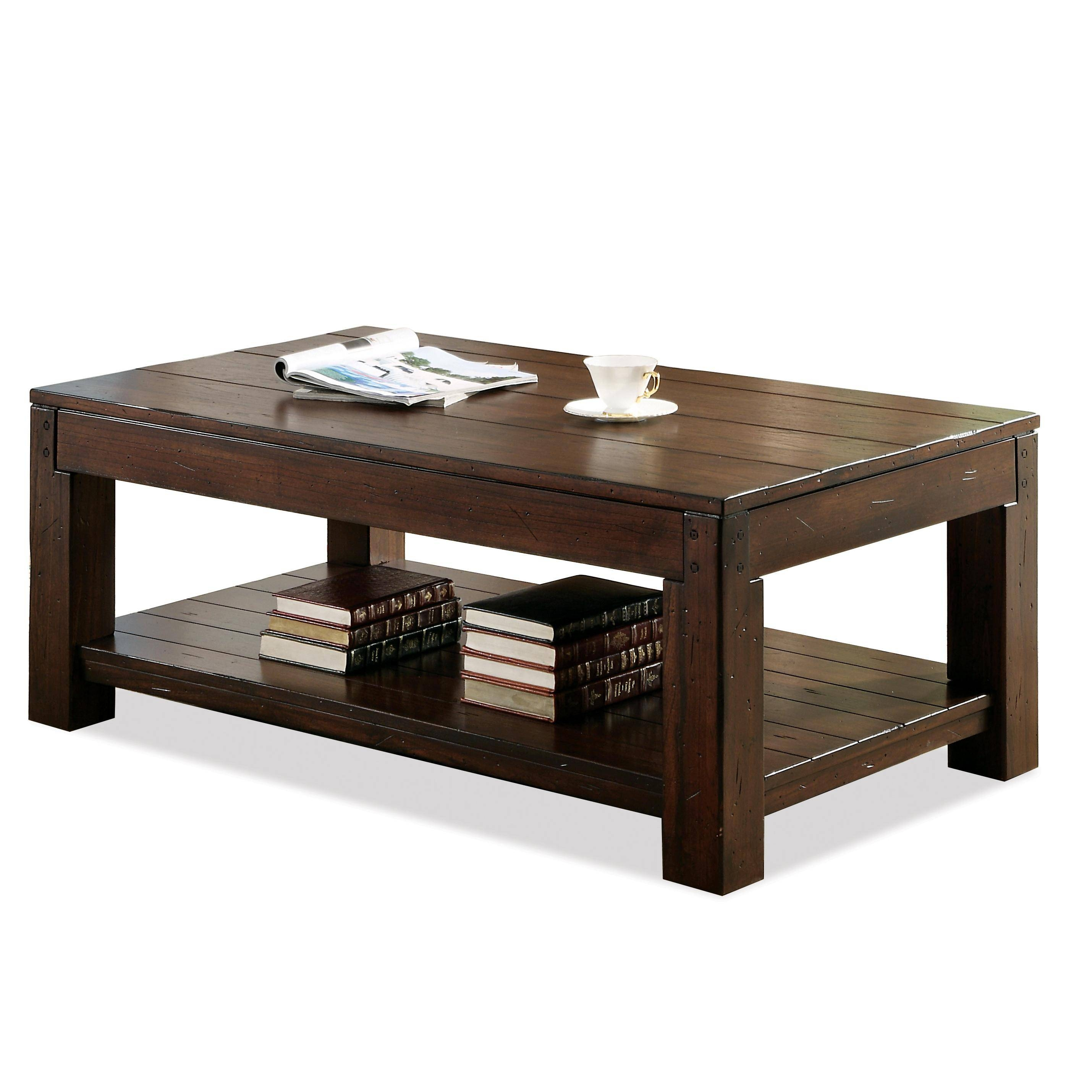 Rectangular Coffee Table With Fixed Lower Shelf And Block Legs with regard to Coffee Tables With Shelves (Image 27 of 30)