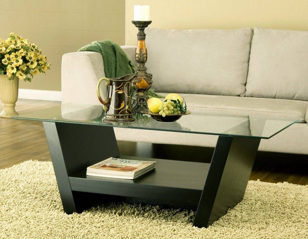 Rectangular Glass Top Coffee Table With Dark Wooden Legs Also for Dark Wood Coffee Tables With Glass Top (Image 24 of 30)