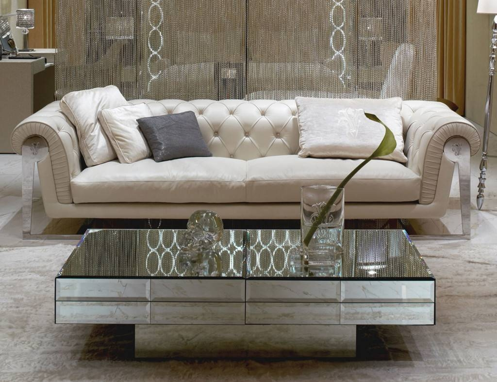 Rectangular Mirrored Coffee Table With One Big Leg with regard to Coffee Tables Mirrored (Image 25 of 30)