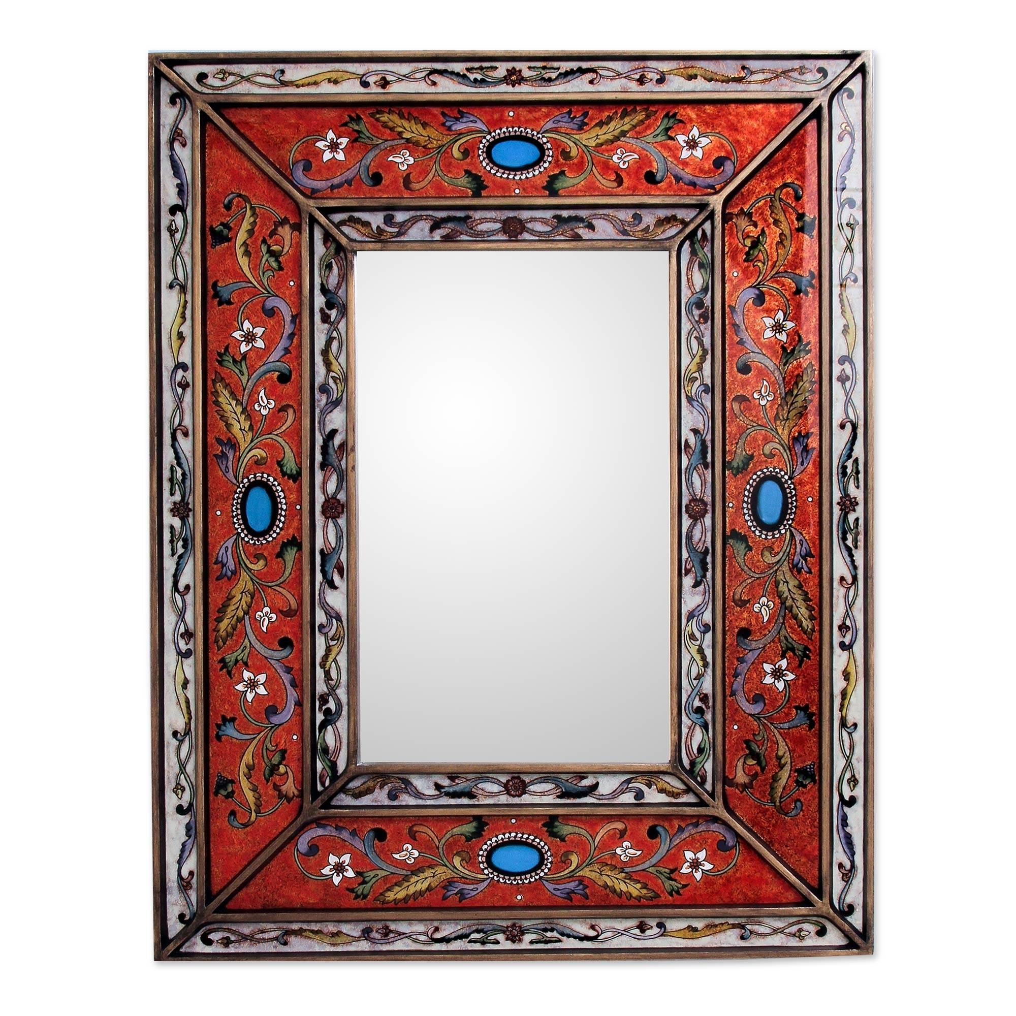 Rectangular Reverse Painted Glass Wall Mirror From Peru - Red with regard to Red Mirrors (Image 22 of 25)