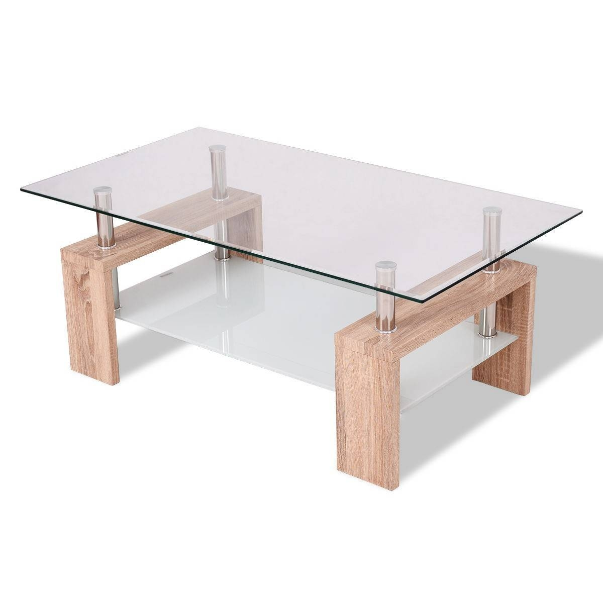 Rectangular Tempered Glass Coffee Table W/ Shelf - Coffee Tables for Glass Coffee Tables With Shelf (Image 23 of 30)