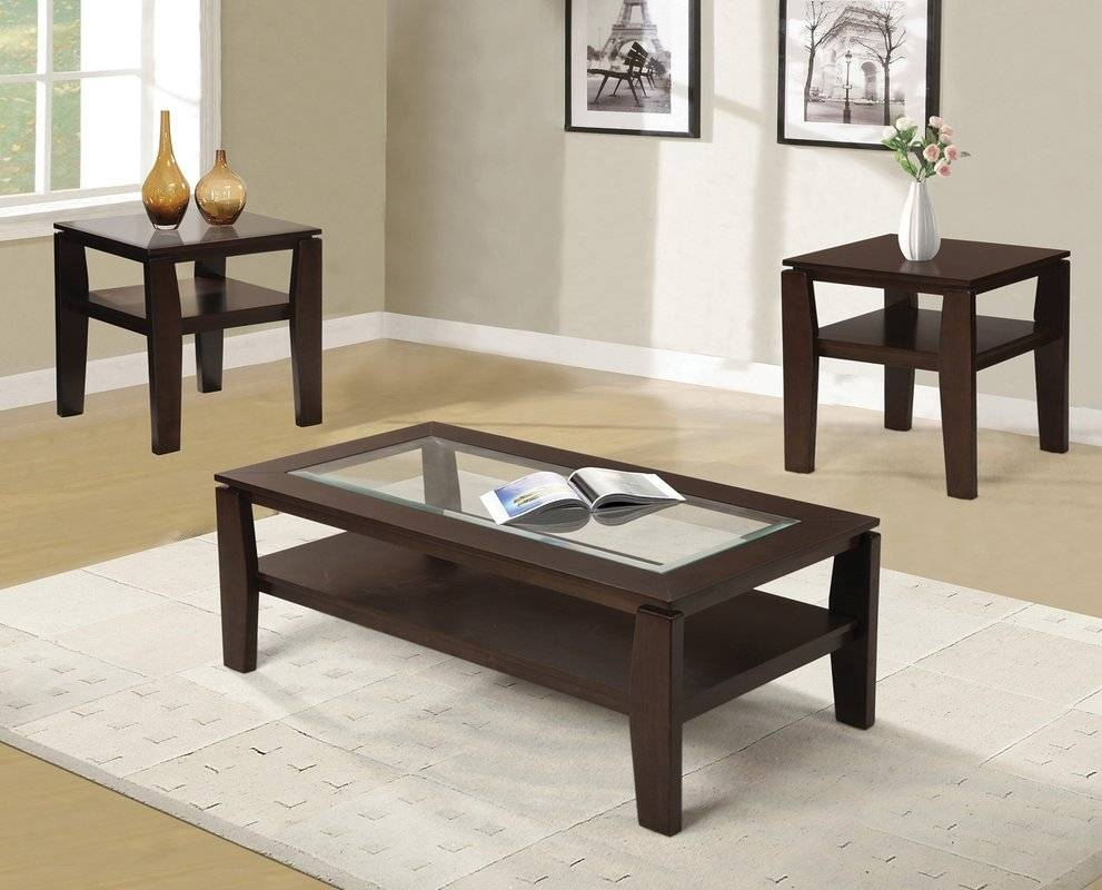 Red Barrel Studio Golder 3 Piece Coffee Table Set & Reviews | Wayfair With Regard To Coffee Table With Chairs (View 29 of 30)