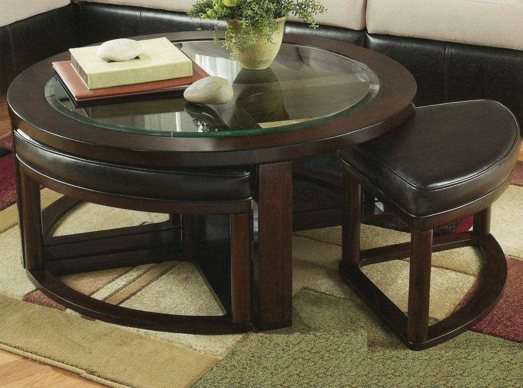 Red Barrel Studio Plumwood Coffee Table With Nested Stools In Coffee Tables With Nesting Stools (View 11 of 30)