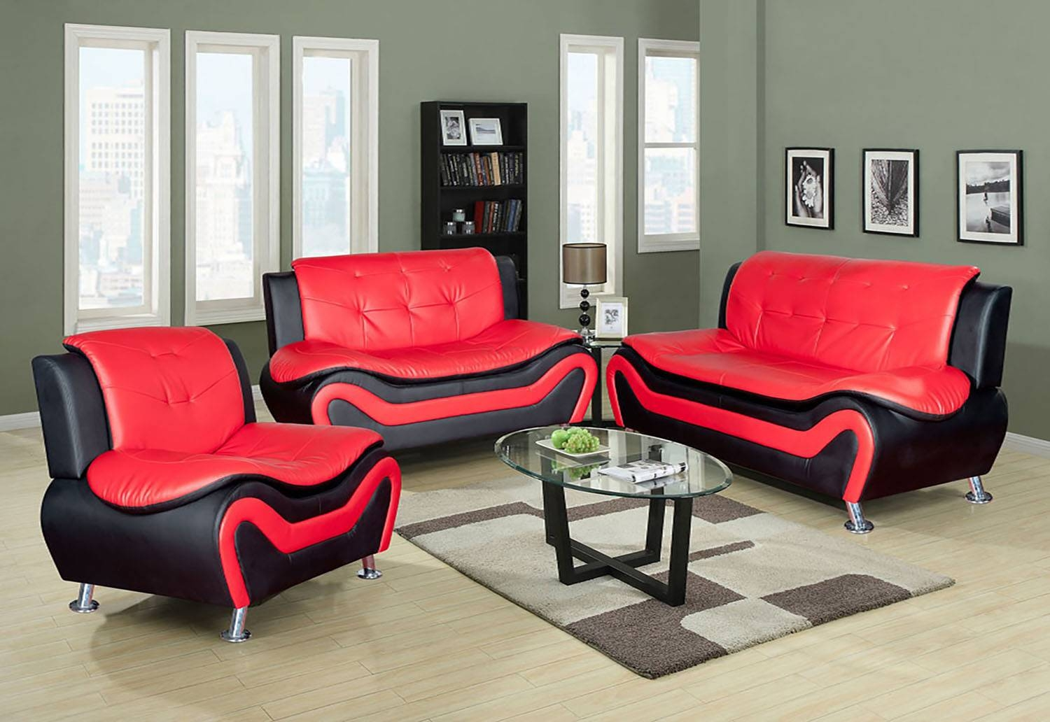 Red & Black Faux Leather 3Pc Set Sofa, Loveseat, Chair with Sofa Loveseat and Chair Set (Image 25 of 30)