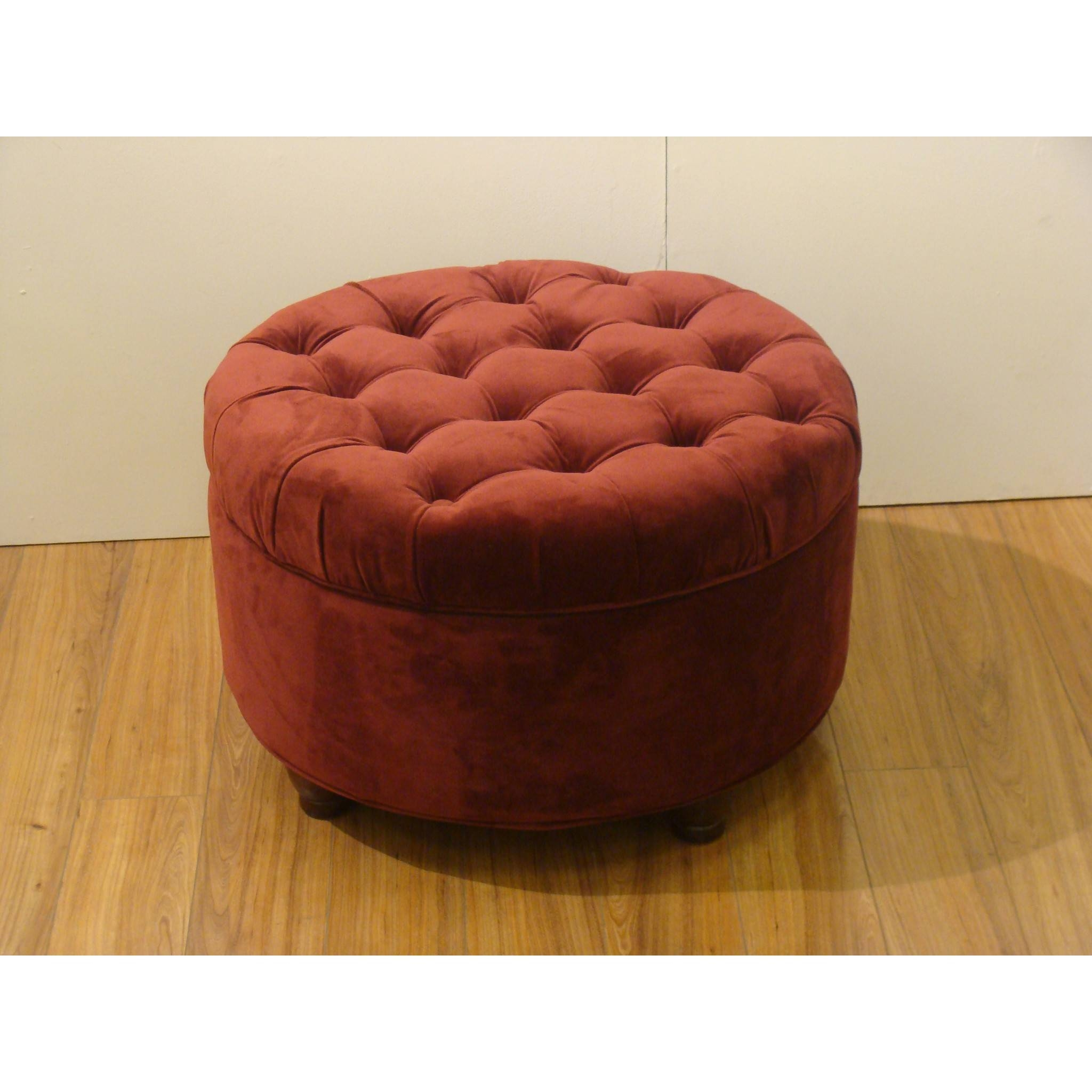 Red Button Tufted Velvet Round Storage Ottoman Coffee Table On inside Red Gloss Coffee Tables (Image 23 of 30)