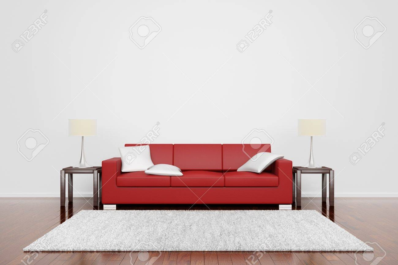 Red Couch On Wooden Floor With White Cushions Carpet And Lamps throughout Floor Couch Cushions (Image 27 of 30)