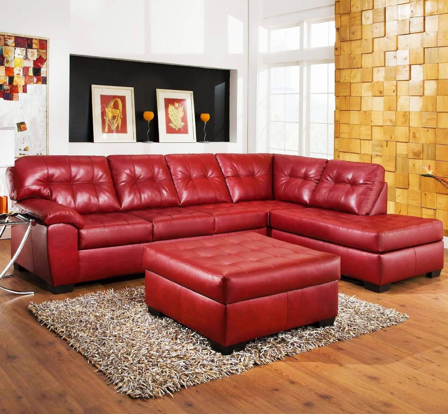 Red Couch: Red Leather Sectional Couch throughout Red Microfiber Sectional Sofas (Image 14 of 30)