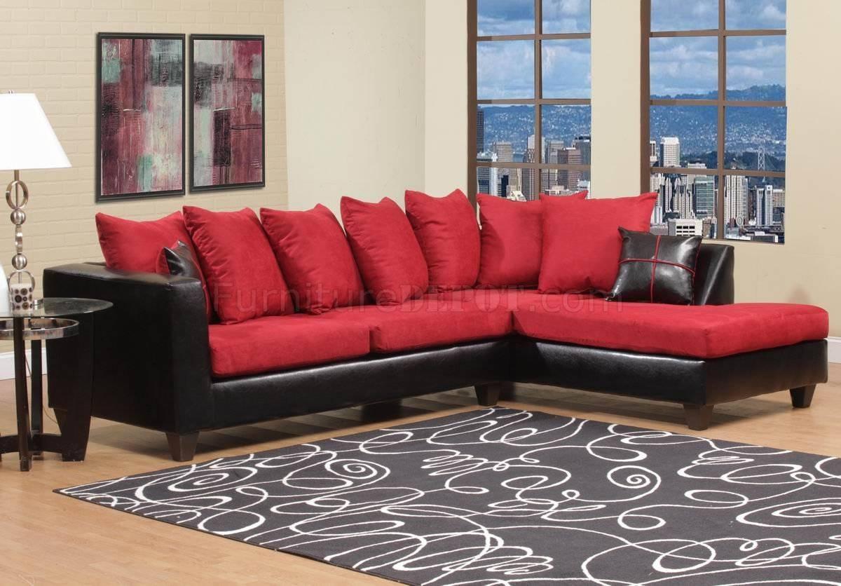 Red Fabric & Black Vinyl Modern Sectional Sofa W/wood Legs regarding Red Black Sectional Sofa (Image 21 of 30)