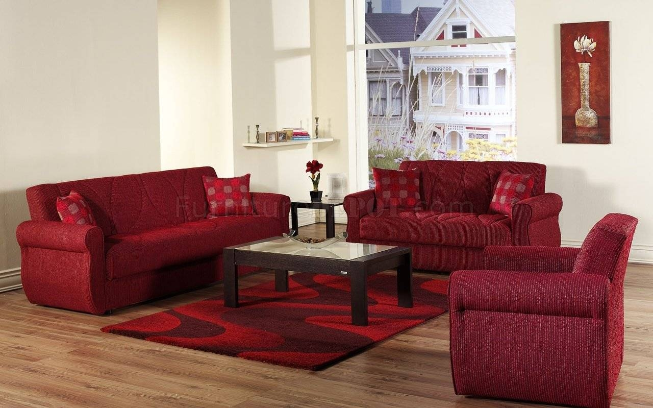 Red Fabric Contemporary Living Room Sleeper Sofa W/storage with Red Sleeper Sofa (Image 16 of 30)