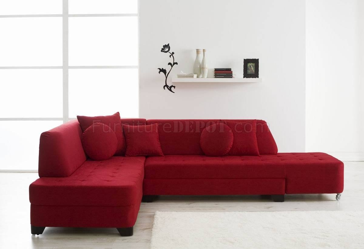 Red Fabric Modern Convertible Sectional Sofa W/wood Legs pertaining to Convertible Sectional Sofas (Image 21 of 30)