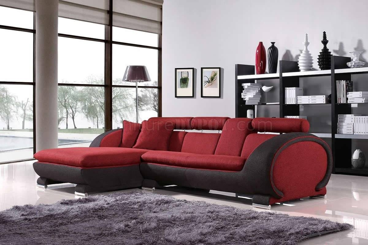 Red Fabric Two-Tone Modern Sectional Sofa W/cup Holders throughout Red Microfiber Sectional Sofas (Image 16 of 30)