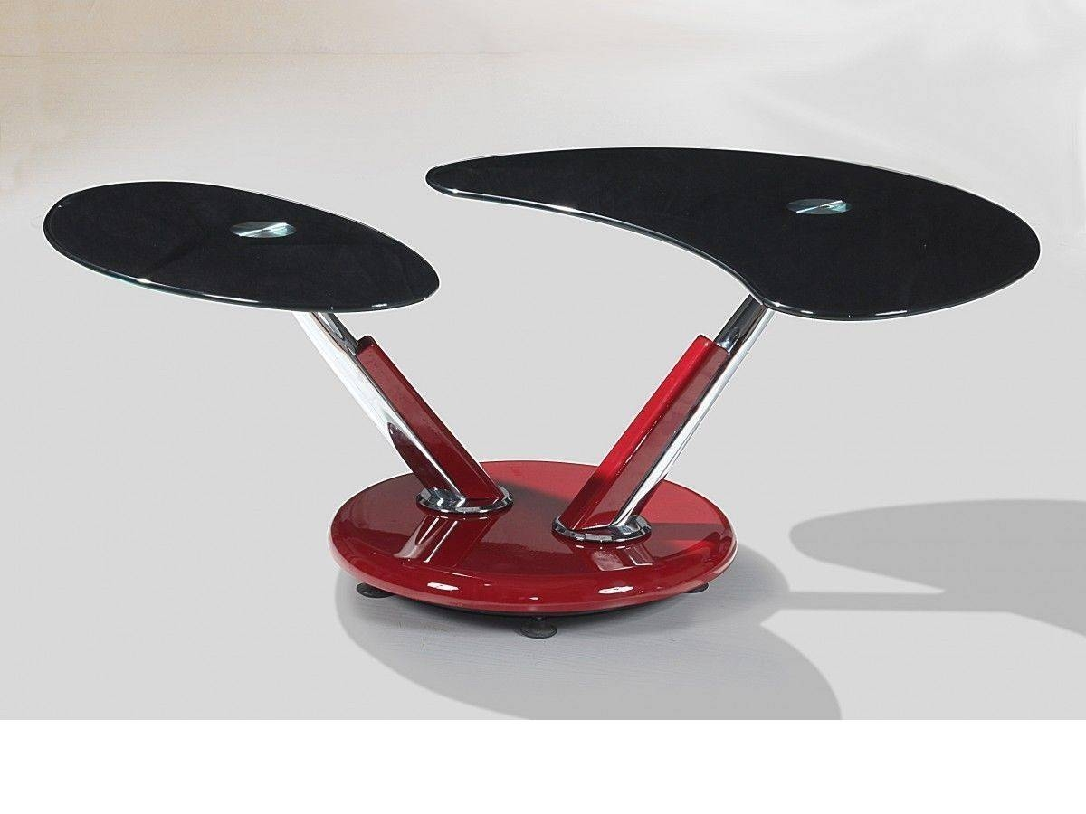 Red High Gloss Adjustable Black Glass Coffee Table - Homegenies for Red Gloss Coffee Tables (Image 24 of 30)