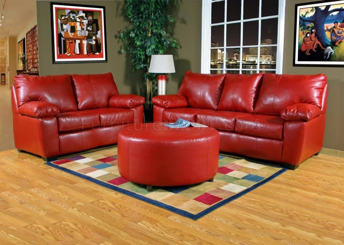 Red Leather-Look Fabric Modern Sofa & Loveseat Set W/options in Red Sofas And Chairs (Image 13 of 30)