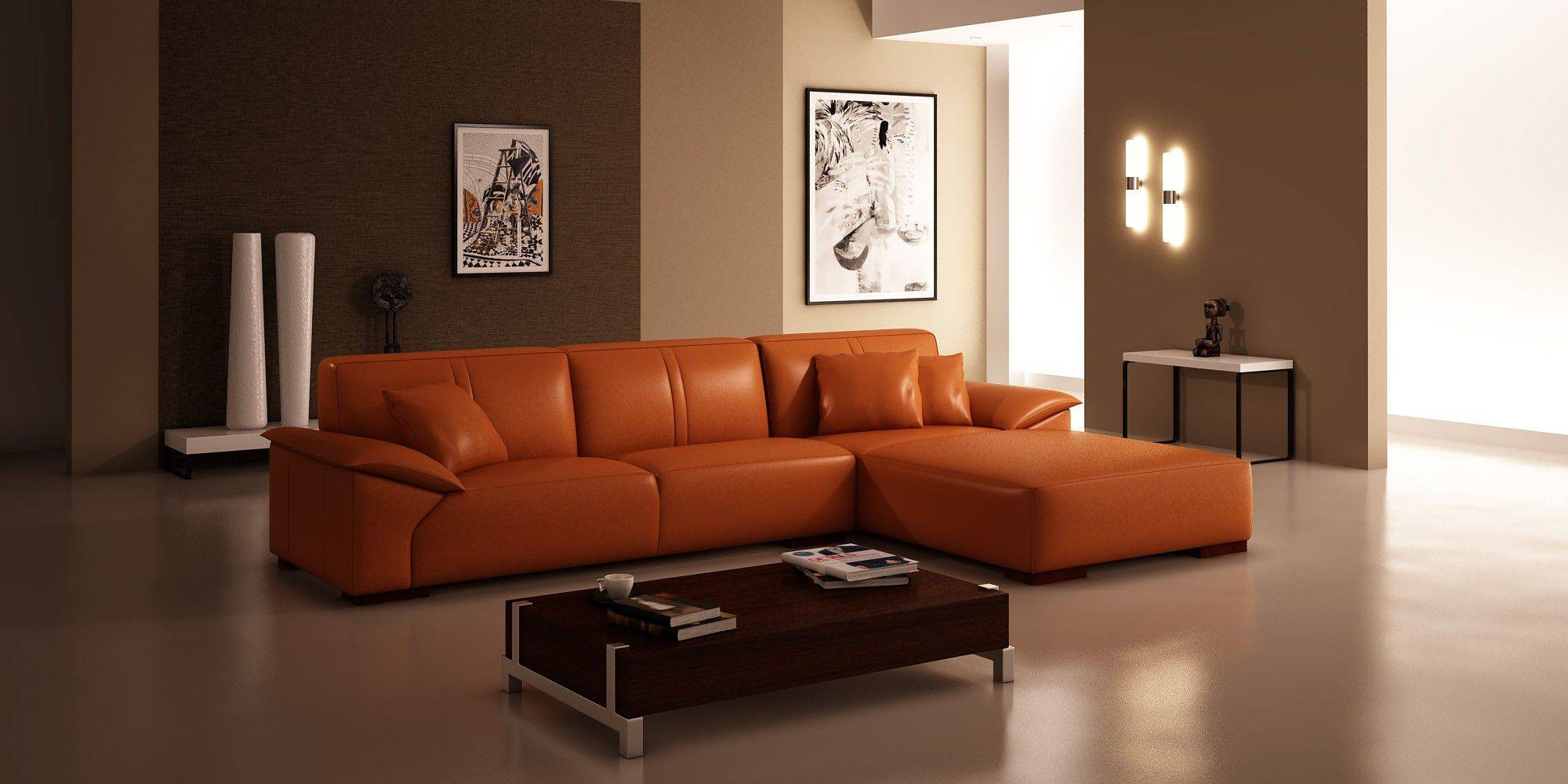Red-Leather-Sectional-Sofa-Ideas-For-Living-Room-With-Rectangular inside Coffee Table For Sectional Sofa (Image 28 of 30)