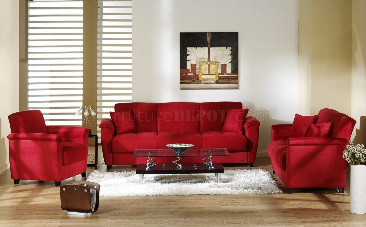 Red Microfiber Fabric Living Room Storage Sleeper Sofa for Red Sleeper Sofa (Image 20 of 30)