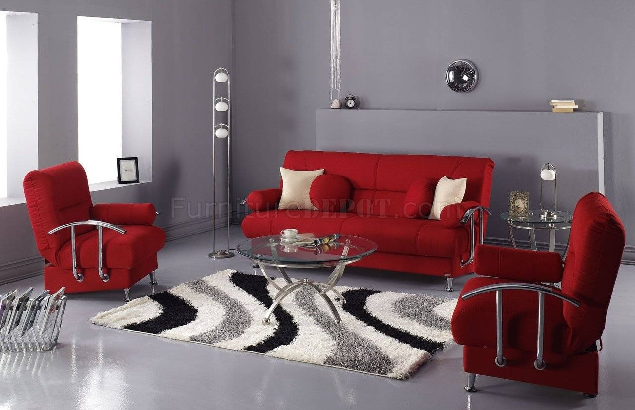 Red Microfiber Modern Living Room Sofa Bed W/storage intended for Red Sofas and Chairs (Image 16 of 30)