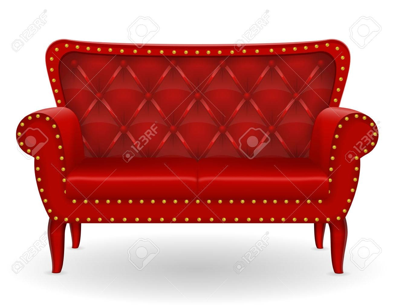 Red Sofa Furniture Vector Illustration Isolated On White inside Red Sofa Chairs (Image 20 of 30)