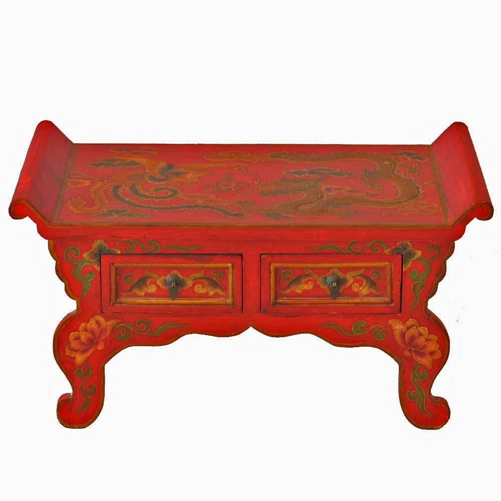 Red Tibetan Hand Painted Dragon Coffee Table Throughout Dragon Coffee Tables (View 27 of 30)