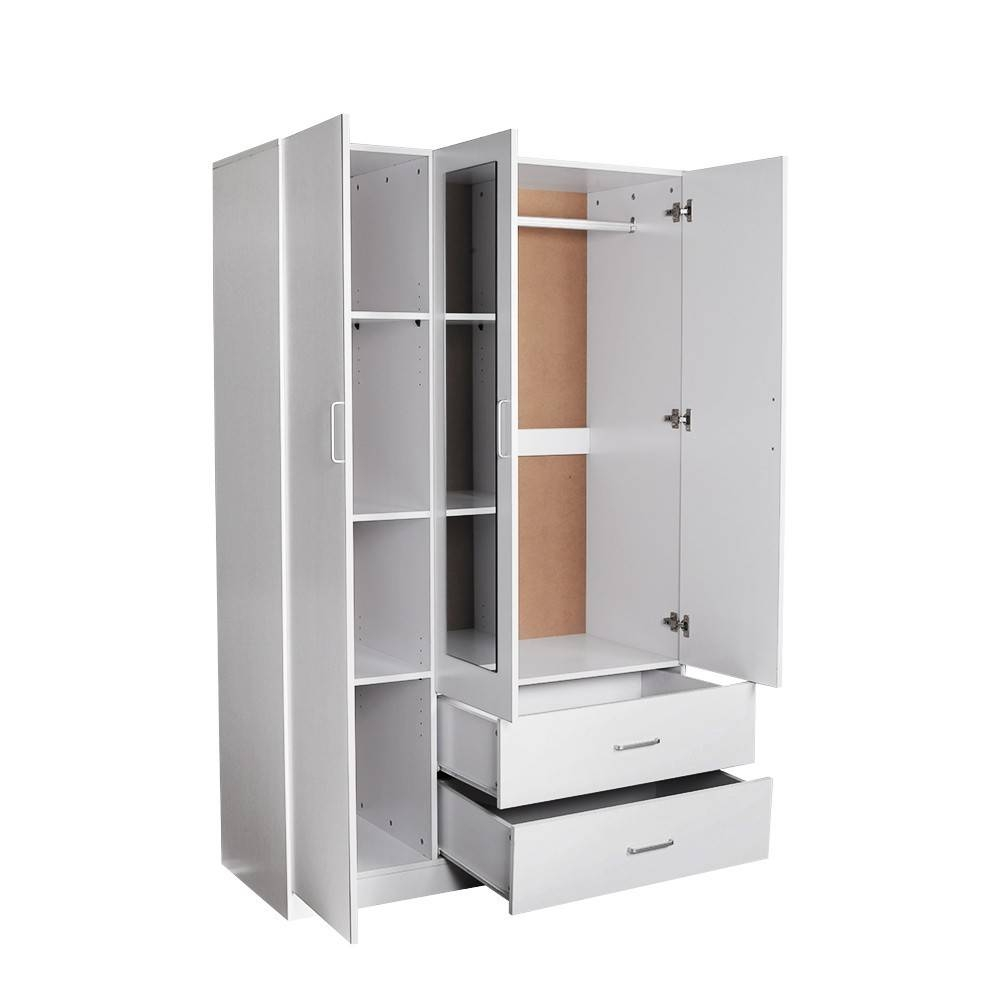 Redfern Utility Robe Wardrobe With Mirror, Black/white/beech, 3 with regard to White 2 Door Wardrobes With Drawers (Image 9 of 15)