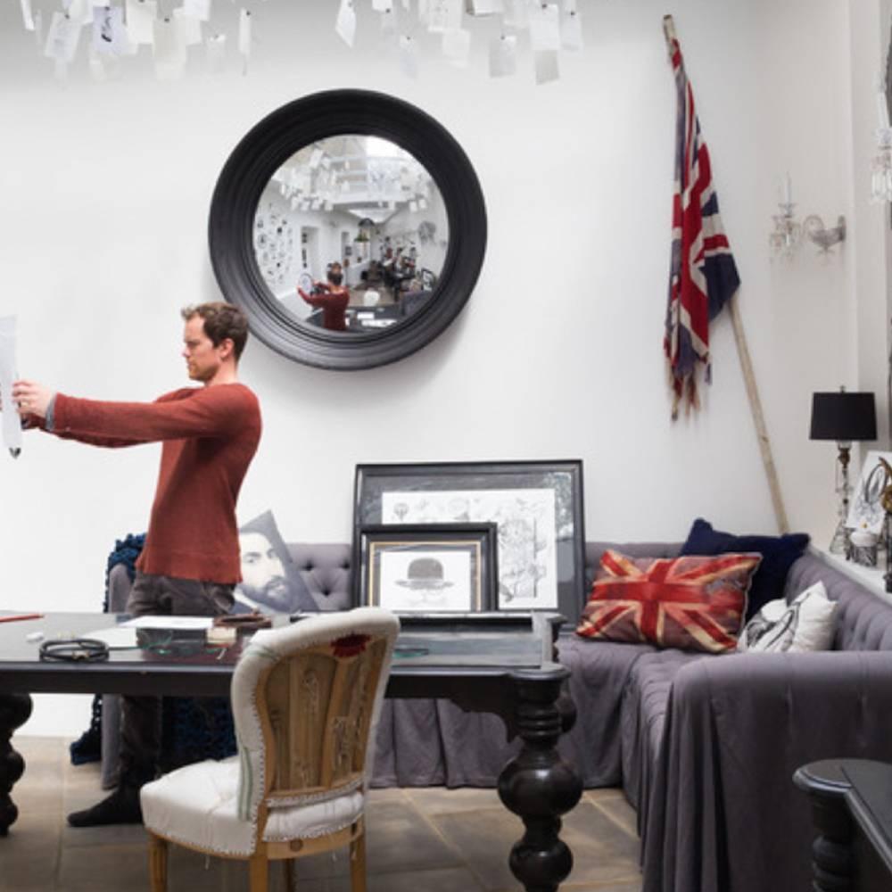 Reflecting Design Lola Black Grain Decorative Convex Mirror E2 pertaining to Decorative Convex Mirrors (Image 16 of 25)