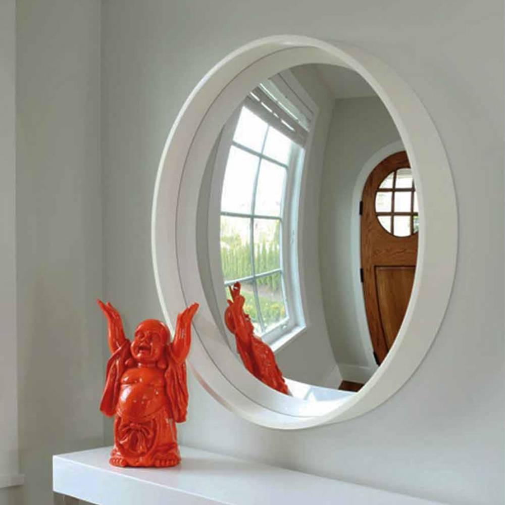 Reflecting Design Pazzo 38 Bone White Decorative Convex Mirror E3 for Decorative Convex Mirrors (Image 17 of 25)