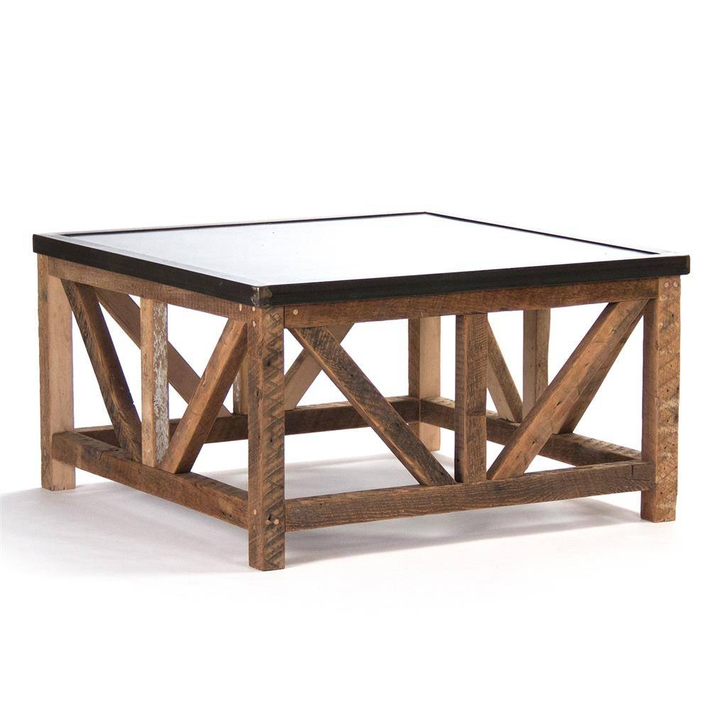 Regan Zinc Top Chunky Reclaimed Wood Rustic Coffee Table | Kathy for Chunky Wood Coffee Tables (Image 17 of 30)