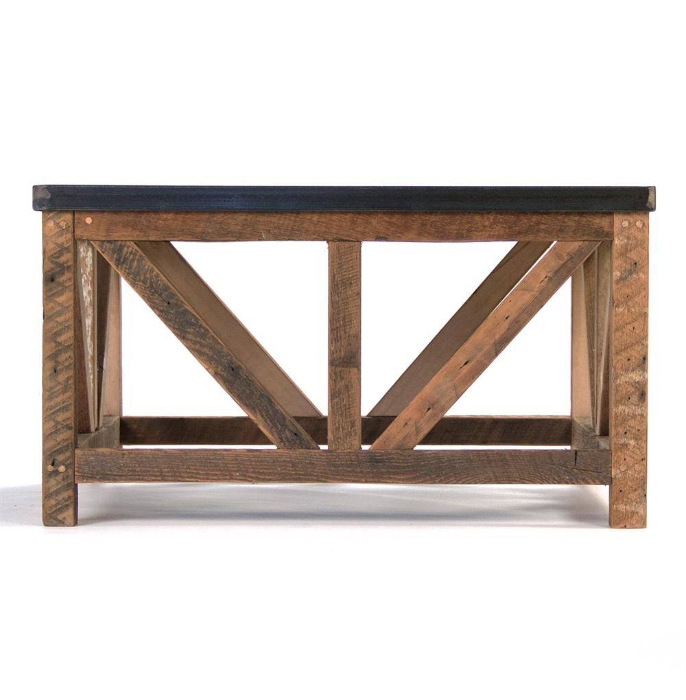 Regan Zinc Top Chunky Reclaimed Wood Rustic Coffee Table | Kathy in Chunky Coffee Tables (Image 18 of 30)