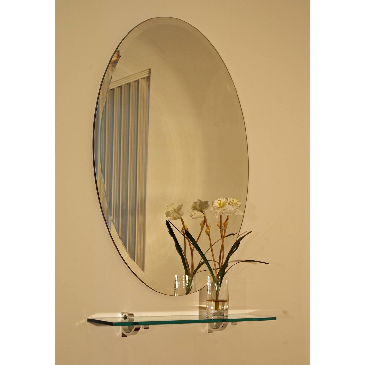 Regency 24 X 36 Oval Beveled Edge Mirror Spancraft Wall Mirror intended for No Frame Wall Mirrors (Image 6 of 25)