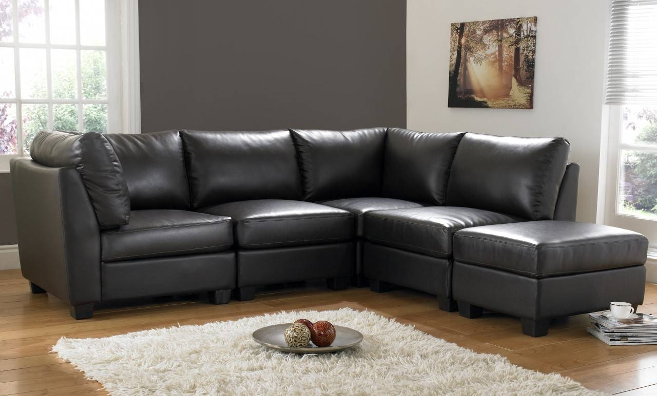 Regular 2 Seater Black Leather Sofa Sofas Couch Suite Range Settee Within Small Brown Leather Corner Sofas (View 17 of 30)