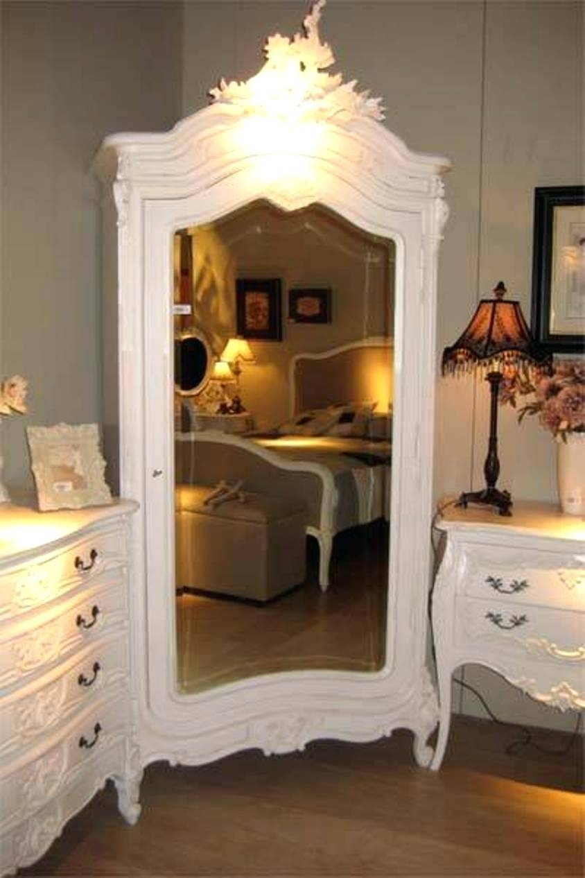 Related White Wardrobe Armoire With Mirror Painted 1 Door Main pertaining to White French Armoire Wardrobes (Image 13 of 15)