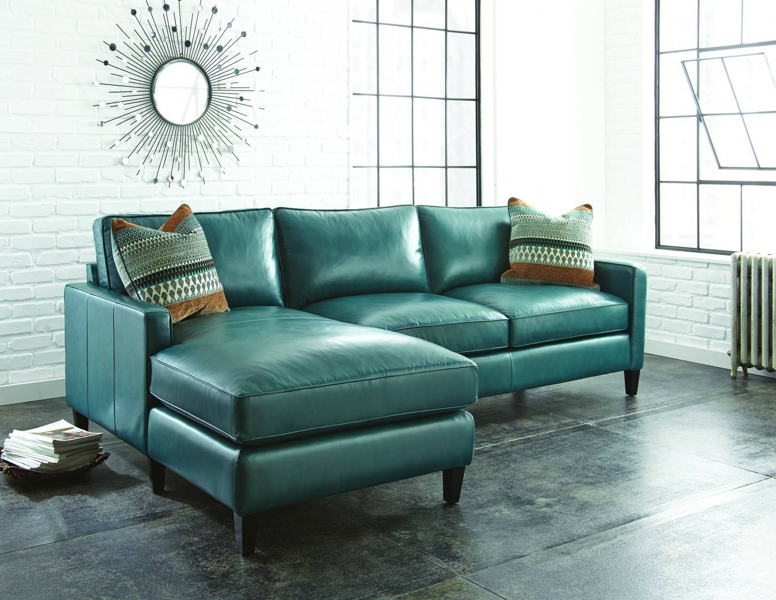 Remarkable Turquoise Leather Sectional Sofa 58 About Remodel with regard to Abbyson Living Charlotte Dark Brown Sectional Sofa and Ottoman (Image 21 of 30)