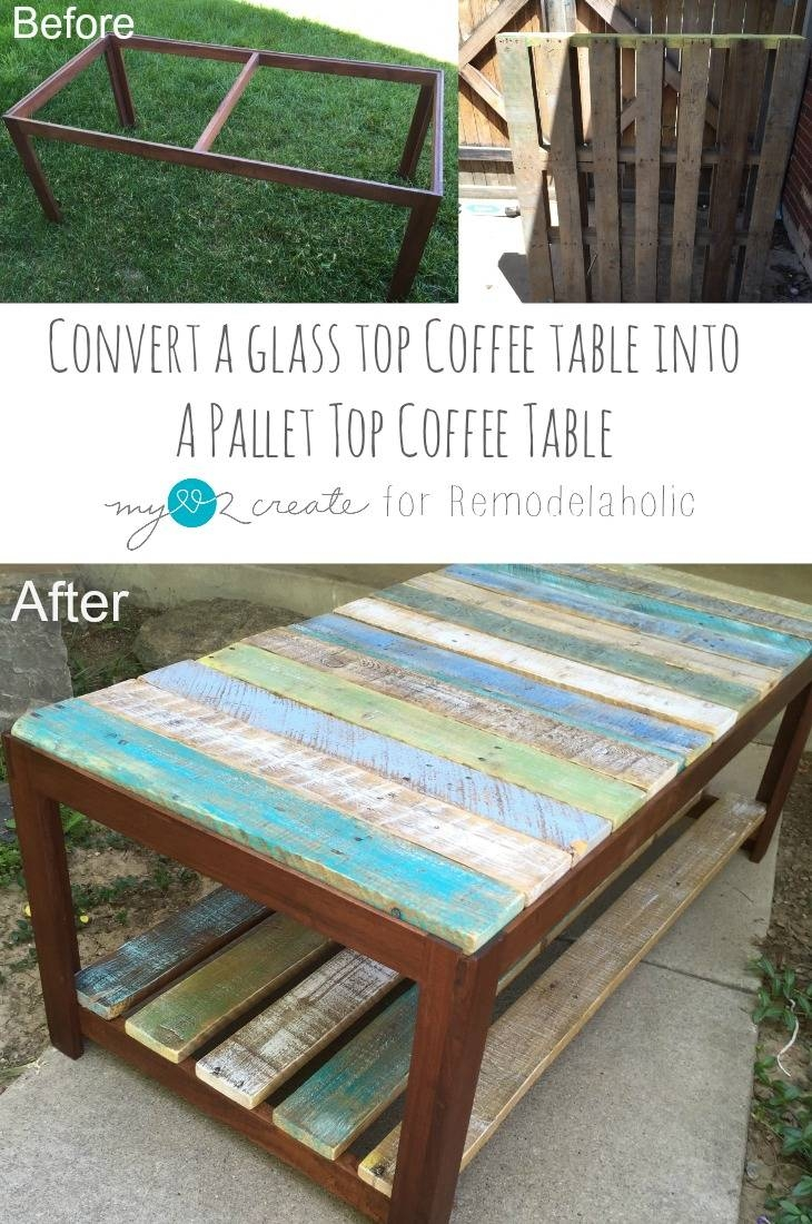 Remodelaholic | Update A Glass Top Coffee Table With A Pallet Intended For Glass Top Storage Coffee Tables (View 8 of 30)