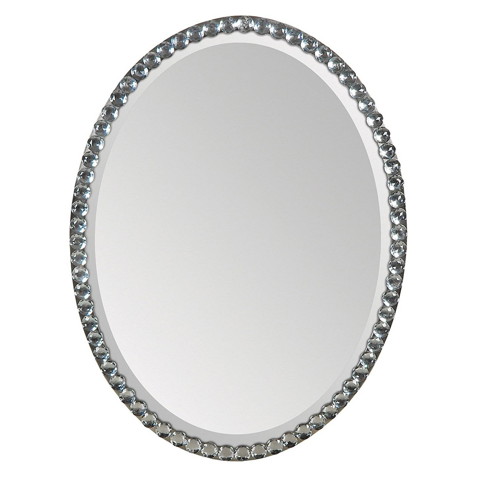 Ren-Wil Oval Crystal Framed Wall Mirror - 24W X 32H In. - Walmart pertaining to Silver Oval Wall Mirrors (Image 18 of 25)