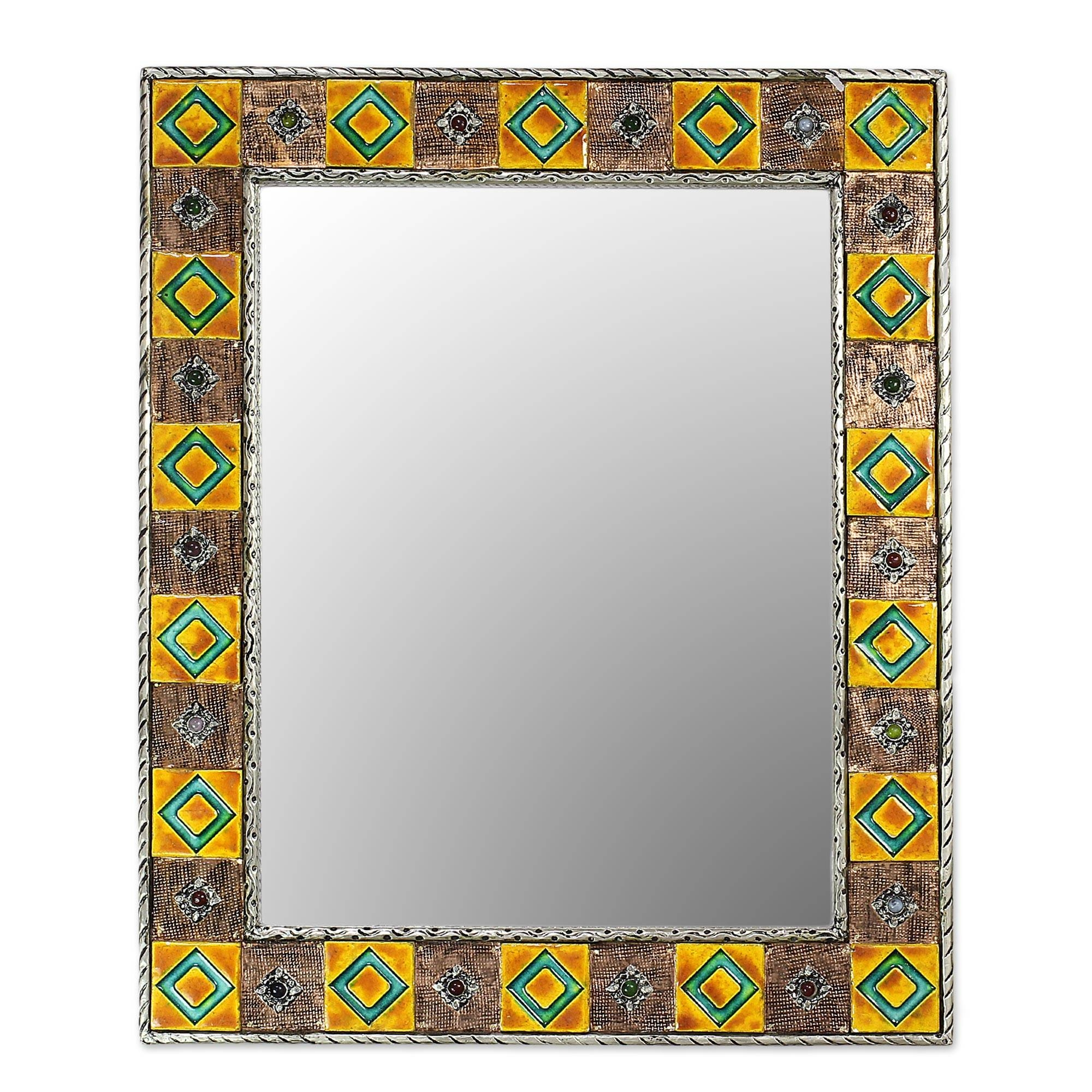 Repoussé Copper Mirror India Ceramic Wall Art Handmade - Autumn with regard to Antique Style Wall Mirrors (Image 21 of 25)