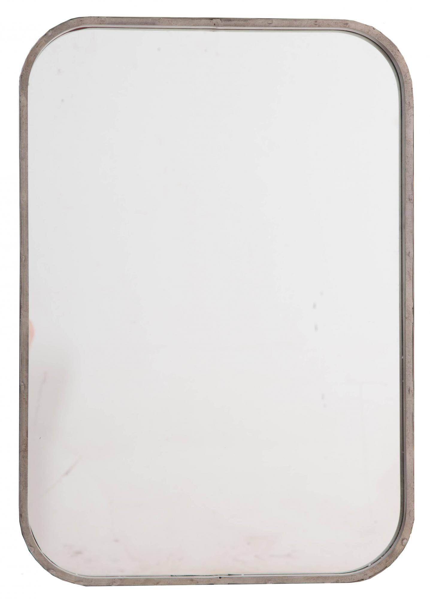Reproduction Industrial Metal Mirror With Rounded Corners for Reproduction Mirrors (Image 21 of 25)