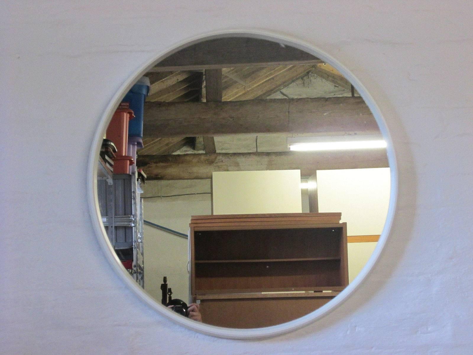 Retro 1960S/1970S Schreiber Nova Round White Framed Wall Mirror with regard to Retro Wall Mirrors (Image 18 of 25)