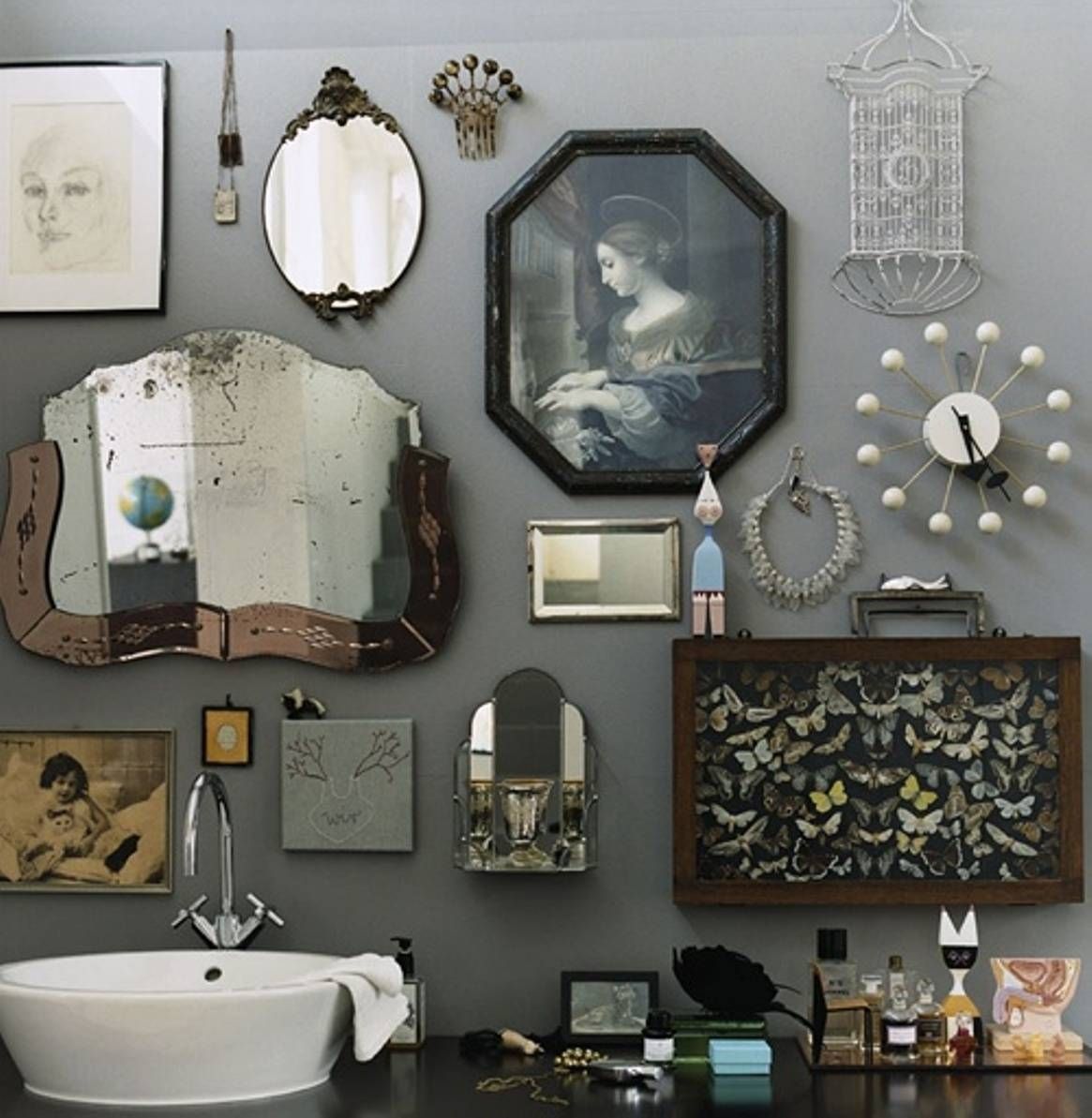 Retro Bathroom Idea With Grey Wall Paint Plus Completed With with regard to Retro Wall Mirrors (Image 19 of 25)